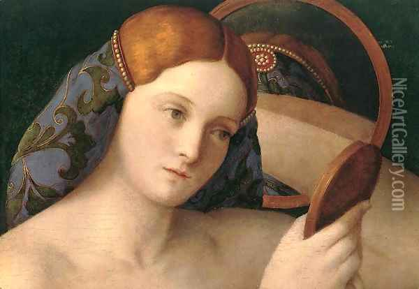 Naked Young Woman in Front of the Mirror (detail) 1515 Oil Painting - Giovanni Bellini