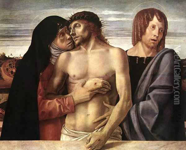 Dead Christ Supported by the Madonna and St John (Pietà) 1460 Oil Painting - Giovanni Bellini
