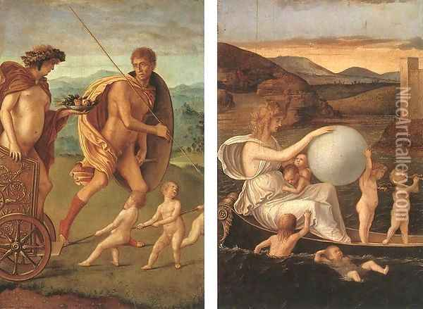 Four Allegories-Perseverance and Fortune c. 1490 Oil Painting - Giovanni Bellini
