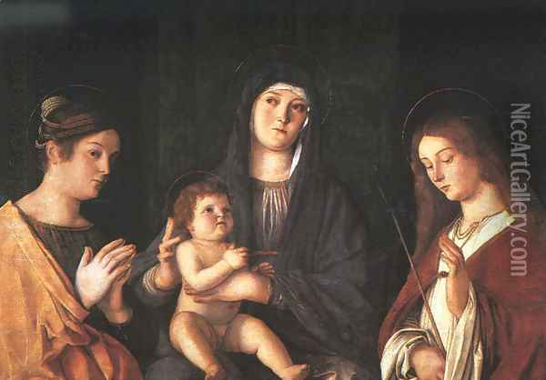 The Virgin and Child with Two Saints 1490 Oil Painting - Giovanni Bellini
