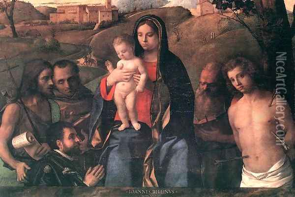 Madonna and Child with Four Saints and Donator 1507 Oil Painting - Giovanni Bellini