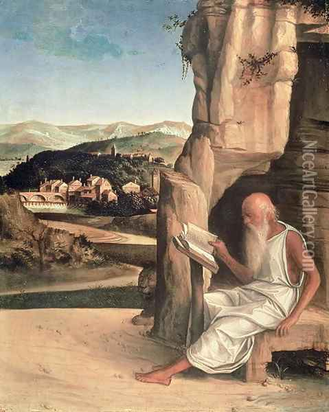 St. Jerome Reading in a Landscape Oil Painting - Giovanni Bellini