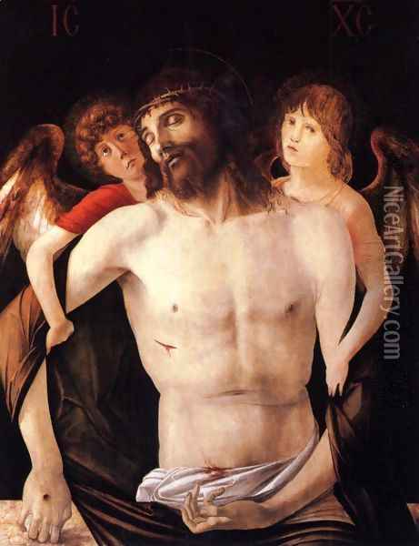 The Dead Christ Supported By Two Angels Oil Painting - Giovanni Bellini
