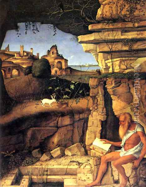 Saint Jerome Reading 1505 Oil Painting - Giovanni Bellini