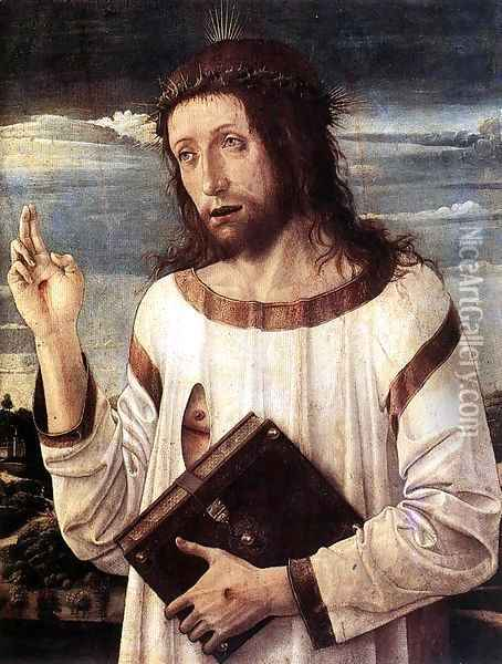 Blessing Christ c. 1460 Oil Painting - Giovanni Bellini