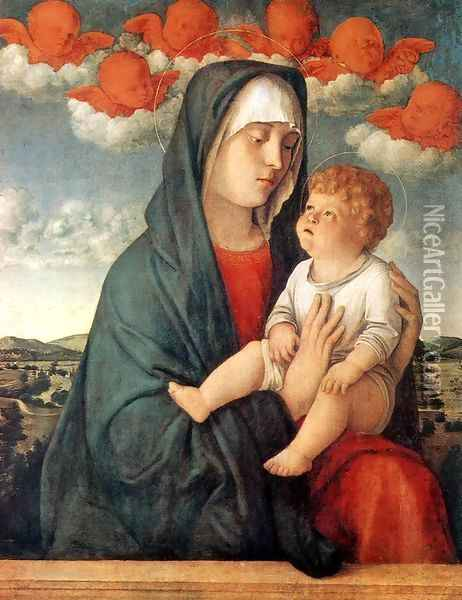 Madonna of Red Angels 1480-90 Oil Painting - Giovanni Bellini