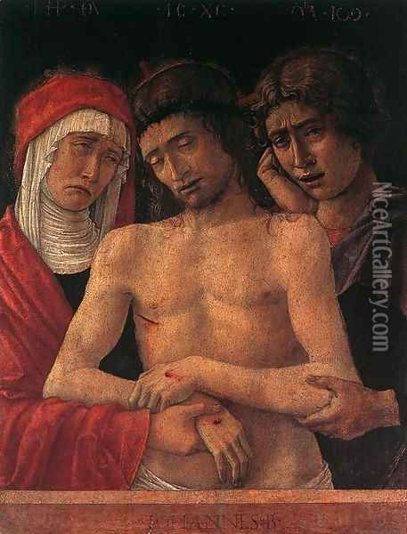 Dead Christ Supported by the Madonna and St John (Pietà) 1455 Oil Painting - Giovanni Bellini