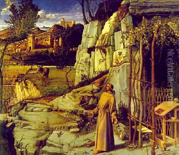 St Francis in Ecstasy 1480-85 Oil Painting - Giovanni Bellini