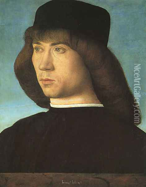 Portrait of a Young Man c. 1500 2 Oil Painting - Giovanni Bellini
