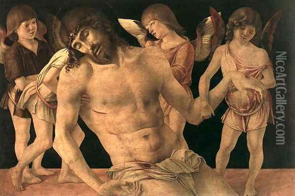 Dead Christ Supported by Angels (Pietà) c. 1474 Oil Painting - Giovanni Bellini