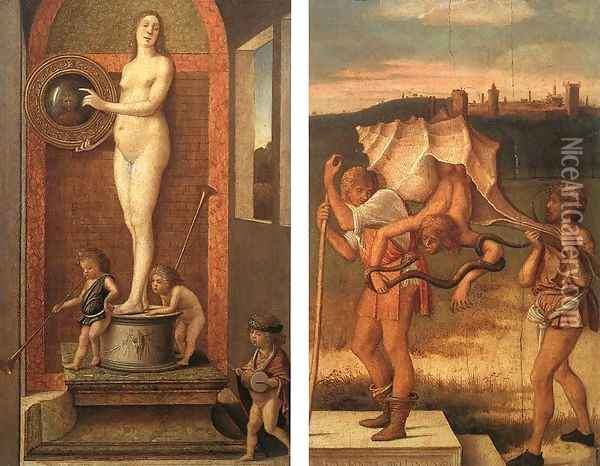 Four Allegories Prudence And Falsehood c. 1490 Oil Painting - Giovanni Bellini
