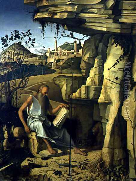 St. Jerome in the Desert 1480-87 Oil Painting - Giovanni Bellini