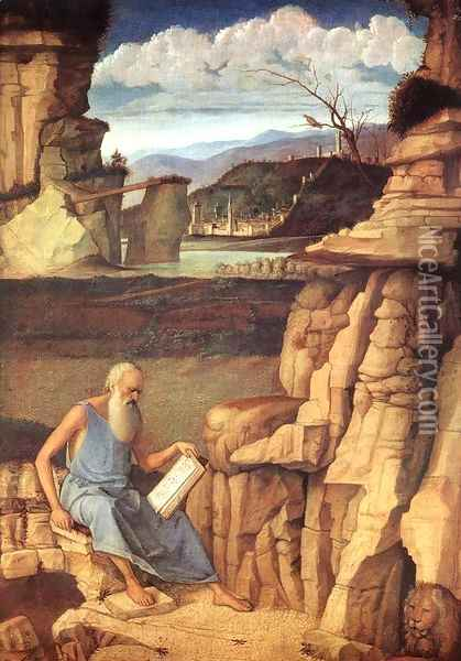 St Jerome Reading in the Countryside Oil Painting - Giovanni Bellini