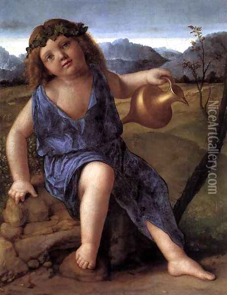 Young Bacchus c. 1514 Oil Painting - Giovanni Bellini