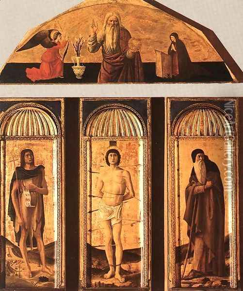 St Sebastian Triptych 1460-64 Oil Painting - Giovanni Bellini