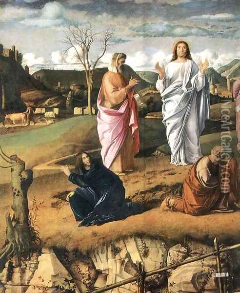 Transfiguration of Christ (detail 1) c. 1487 Oil Painting - Giovanni Bellini