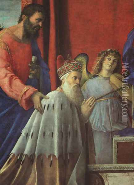 The Doge Barbarigo, St. John, and Musician Angels (detail) 1500 Oil Painting - Giovanni Bellini