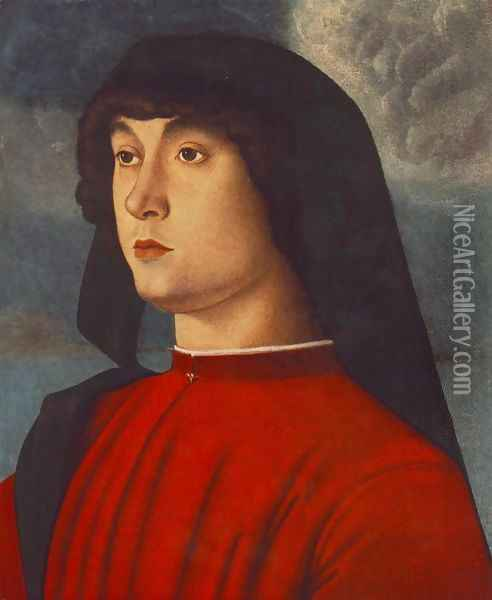 Portrait of a Young Man in Red 1485-90 Oil Painting - Giovanni Bellini