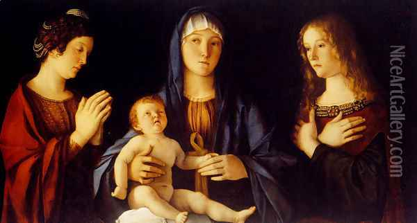 Virgin and Child between St. Catherine and St. Mary Magdalene (Madonna col Bambino tra le sante Caterina e Maddalena) Oil Painting - Giovanni Bellini