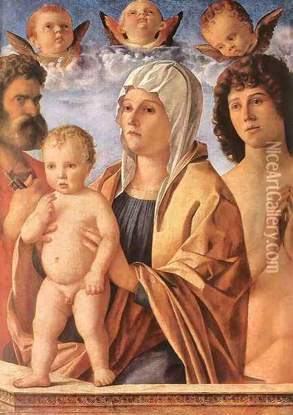 Madonna with Child and Sts. Peter and Sebastian c. 1487 Oil Painting - Giovanni Bellini