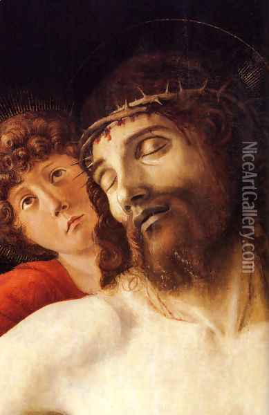 The Dead Christ Supported by Two Angels [detail] Oil Painting - Giovanni Bellini