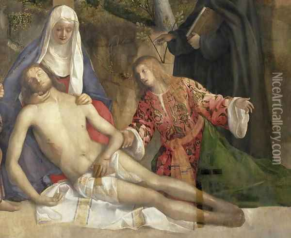 Mourning the Dead Christ at the Foot of the Cross Oil Painting - Giovanni Bellini