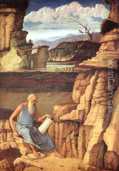 St. Jerome Reading in the Countryside Oil Painting - Giovanni Bellini