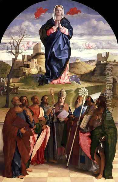 Virgin in Glory with Saints Oil Painting - Giovanni Bellini