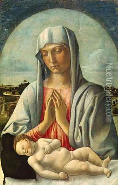 Madonna Adoring the Sleeping Child early 1460s Oil Painting - Giovanni Bellini