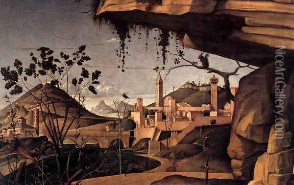 St Jerome Reading in the Countryside (detail) Oil Painting - Giovanni Bellini