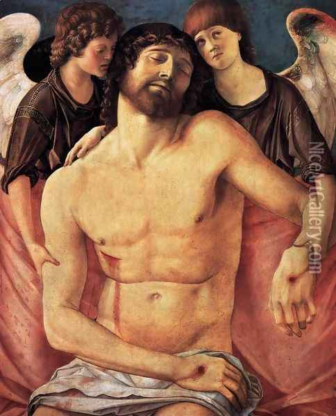 Dead Christ Supported by Two Angels Oil Painting - Giovanni Bellini