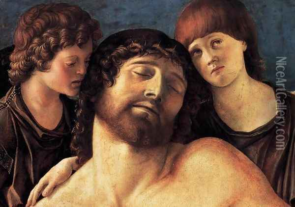 Dead Christ Supported by Two Angels (detail) 2 Oil Painting - Giovanni Bellini