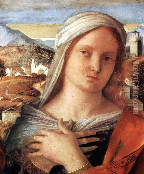 Madonna and Child with St John the Baptist and a Saint (detail) 2 Oil Painting - Giovanni Bellini