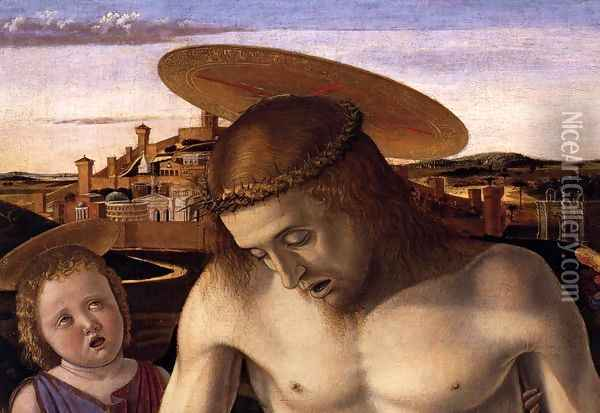 Dead Christ Supported by Two Angels (detail) Oil Painting - Giovanni Bellini