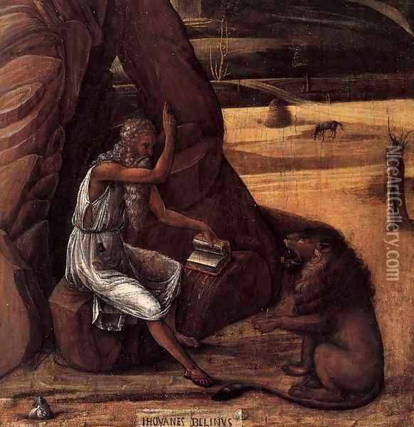 St Jerome in the Desert (detail) Oil Painting - Giovanni Bellini