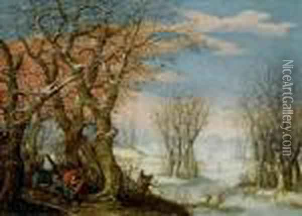 Winter Landscape With The Flight Into Egypt Oil Painting - Denys Van Alsloot