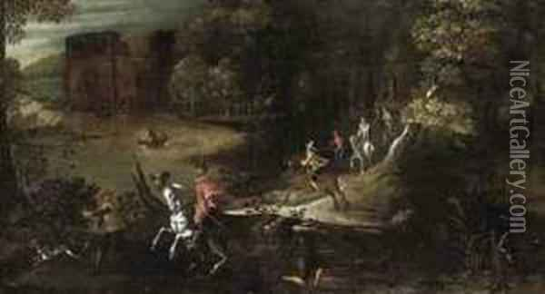 A Wooded River Landscape With A Hunting Party Oil Painting - Denys Van Alsloot
