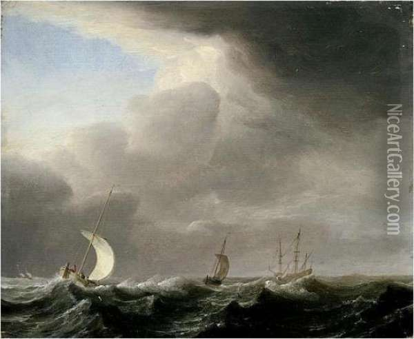 Fishing Pinks Running In Line Before A Stiff Breeze Towards A Distant Man O' War At Anchor Oil Painting - Hendrik van Anthonissen