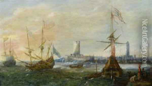 Seascape With A Foreign Harbour Oil Painting - Andries Van Eertvelt