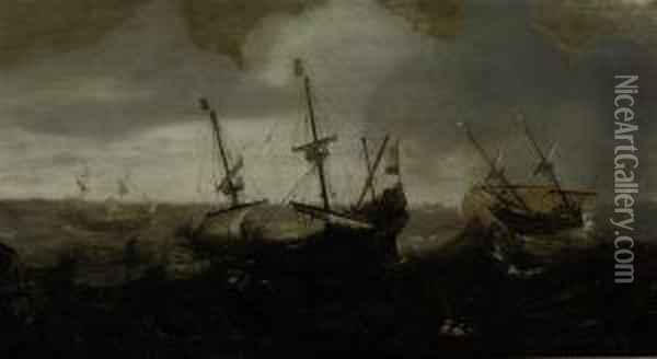 A Whaling Expedition In A Rough Sea Oil Painting - Andries Van Eertvelt
