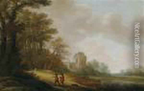 A Traveller On A Wooded Pathway Before The Ruins Of A Church Oil Painting - Pieter Jansz. van Asch
