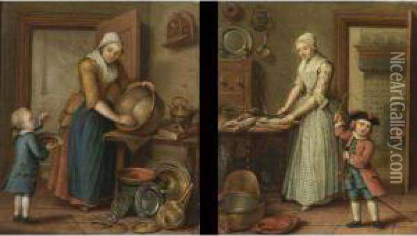 A Woman Cleaning Pots In An Interior With A Boy Eating Cherries; A Woman Preparing Fish In A Kitchen And A Child Playing (a Pair) Oil Painting - Abraham Hendrick van Beesten