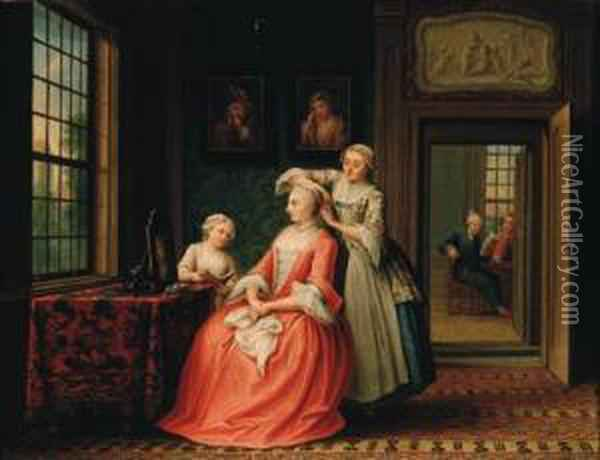 A Lady At Her Toilet In An Interior Oil Painting - Abraham Hendrick van Beesten