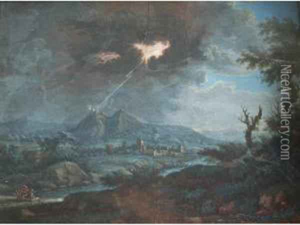 Figures In A Storm In An Extensive Landscape, A Town Beyond Oil Painting - Louis Nicolael van Blarenberghe