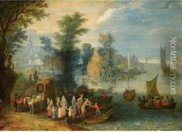 An Extensive River Landscape With Boats By A Village And Travellerson The River Bank Oil Painting - Joseph van Bredael