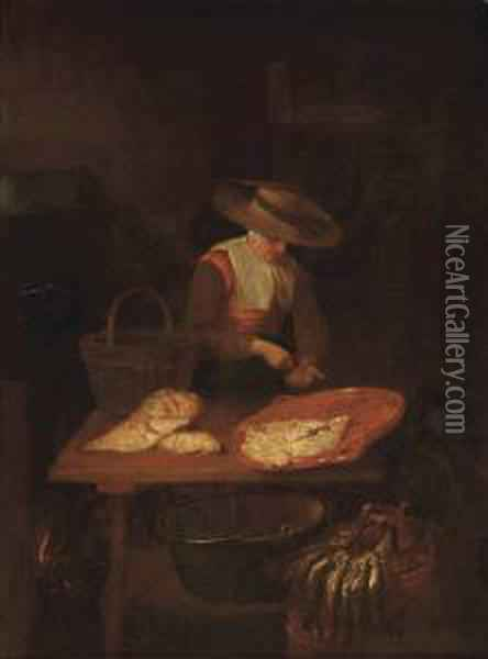 A Female Fishmonger At Her Stall Oil Painting - Quiringh Gerritsz. van Brekelenkam