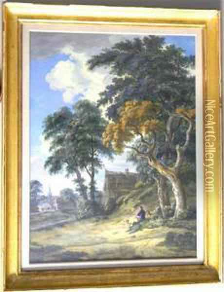 Landscape Of A Man With A Dog On A Hill Overlooking Avillage Oil Painting - Hermanus Van Brussel