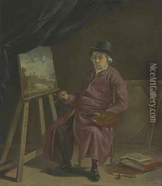 A Portrait Of The Artist In His Studio Oil Painting - Hermanus Van Brussel