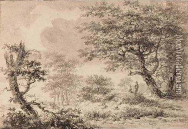 A Wooded Landscape With Figures Resting Under A Tree Oil Painting - Hermanus Van Brussel