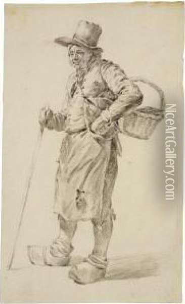 Study Of A Standing Peasant With Basket, Clogs And Walking Stick Oil Painting - Hermanus Van Brussel